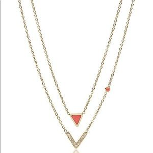 Fossil triangle coral double necklace